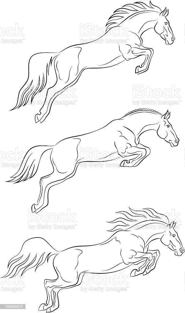 Jumping horse royalty-free stock vector art