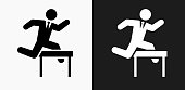 Jumping Hurdles Businessman Icon on Black and White Vector Backgrounds