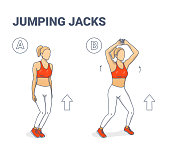 istock Jumping Jacks Exercise Girl Workout Silhouettes illustration 1212919380