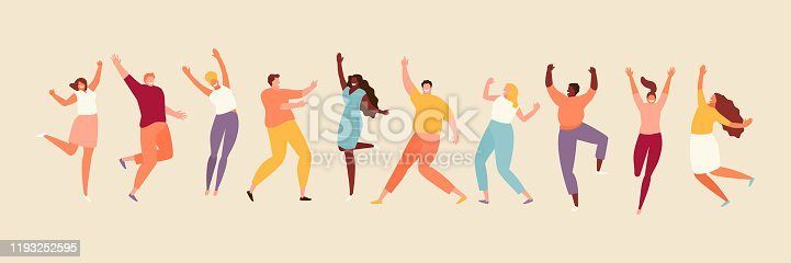 istock Jumping joyful people set 1193252595