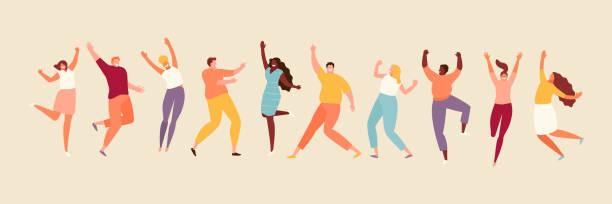 ilustrações de stock, clip art, desenhos animados e ícones de jumping joyful people set - alegria