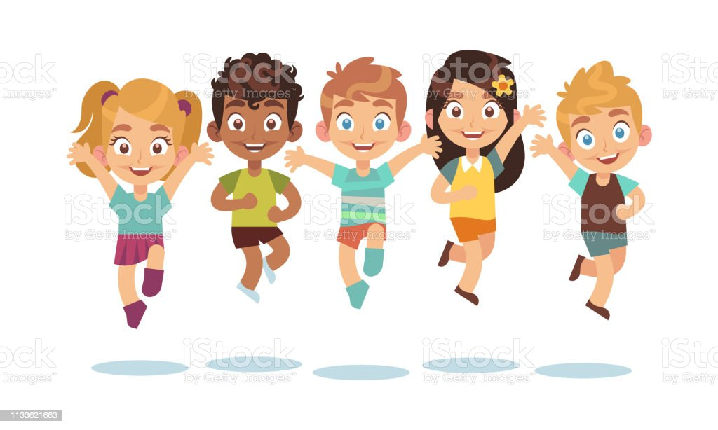 Jumping kids. Cartoon children playing and jump isolated happy active...