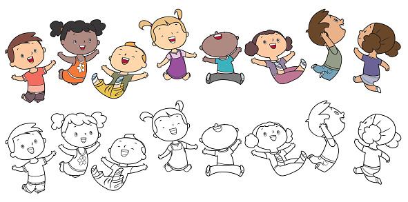 Jumping kids, Coloring Book