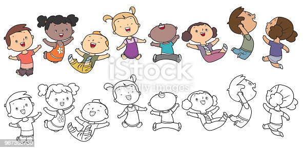 istock Jumping kids, Coloring Book 967365730