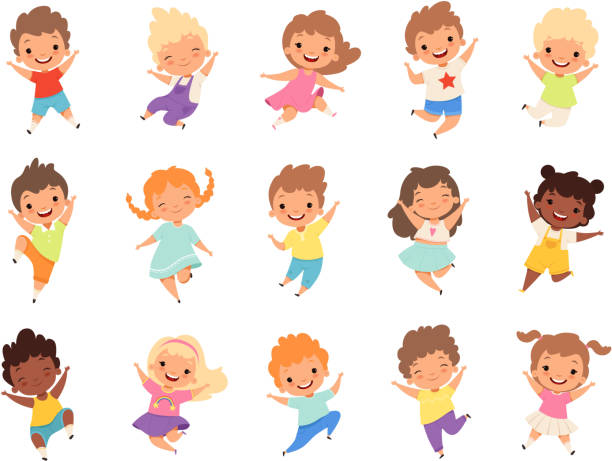 Jumping kids. Happy funny children playing and jumping in different action poses education little team vector characters Jumping kids. Happy funny children playing and jumping in different action poses education little team vector characters. Illustration of kids and children fun and smile happiness stock illustrations