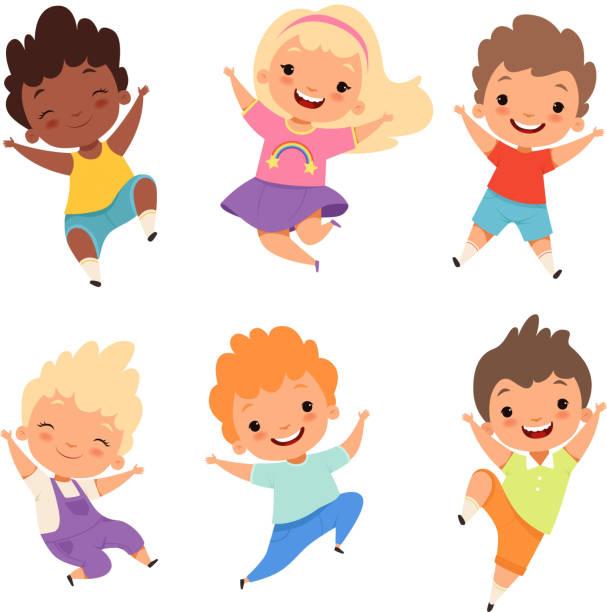 ilustraciones, imágenes clip art, dibujos animados e iconos de stock de jumping kids. niños felizes sonrisa risa niños y niñas jugando a personajes de dibujos animados de vector - niño