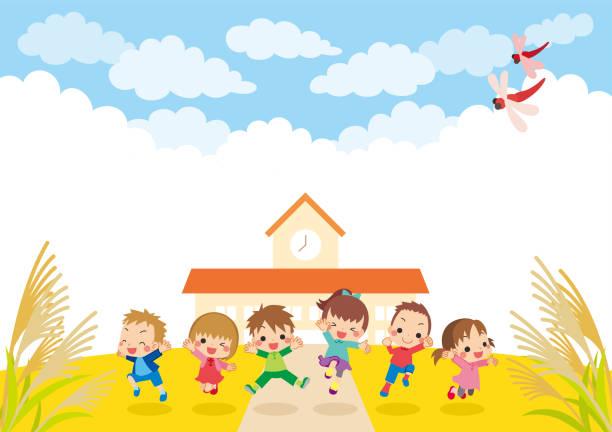 illustrazioni stock, clip art, cartoni animati e icone di tendenza di jumping kids in autumn - miscanthus sinensis