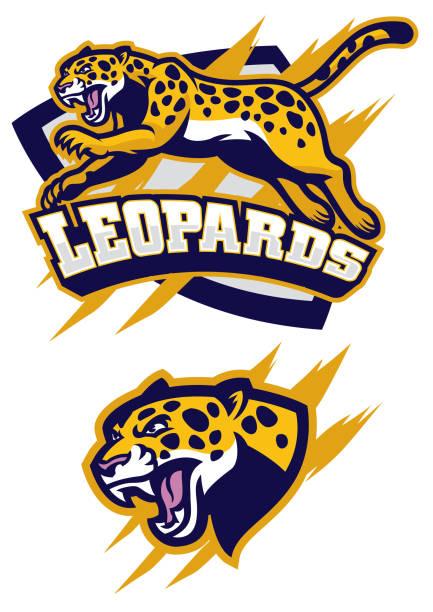 jumping leopard mascot - jaguar stock illustrations