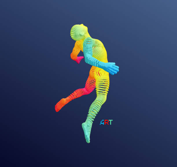 Jumping man. Man floating and hovering in the Air. 3d vector illustration. vector art illustration