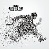 Jumping Man, office workers, particle divergent composition, vector illustration.