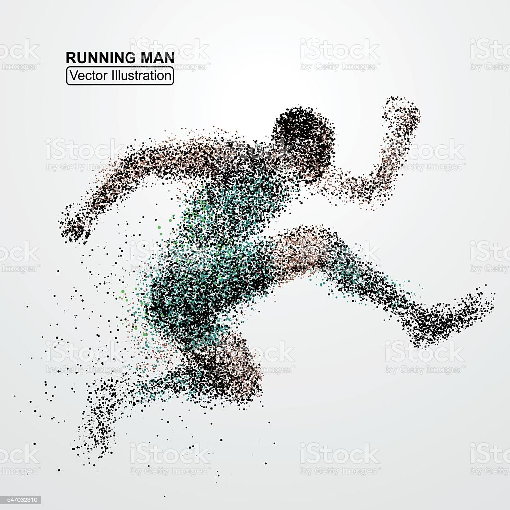 Jumping man, particle divergent composition, vector illustration. vector art illustration