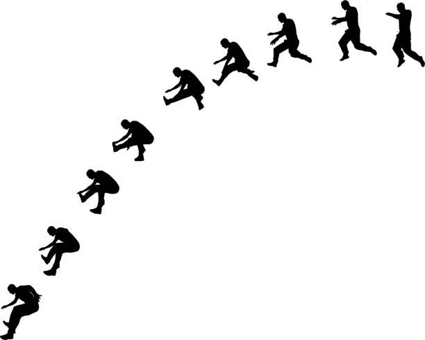bildbanksillustrationer, clip art samt tecknat material och ikoner med jumping man - parkour