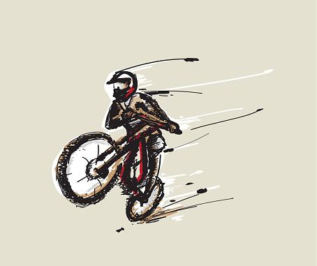 Jumping MBT biker vector illustration.