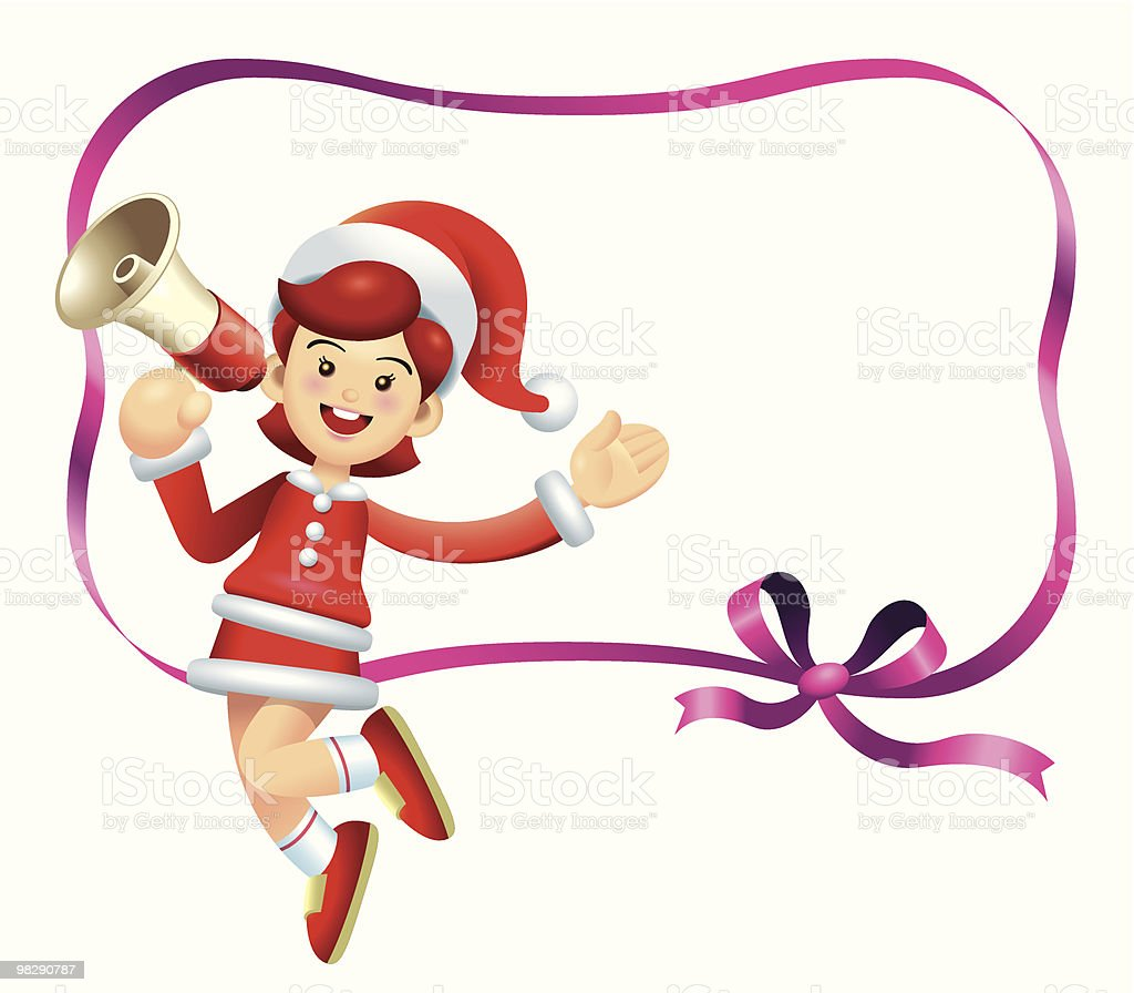 Jumping Megaphone Christmas Girl royalty-free jumping megaphone christmas girl stock vector art & more images of caricature