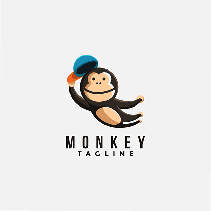Jumping monkey icon vector