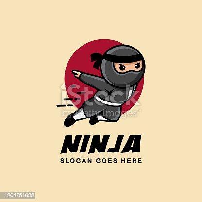 istock Jumping ninja mascot cartoon logo 1204751638