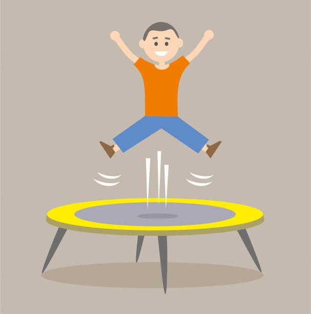 Jumping on the trampoline vector art illustration