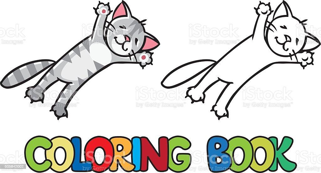 Ilustración de Saltar Y Volar Cat Libro Para Colorear y más banco de ...