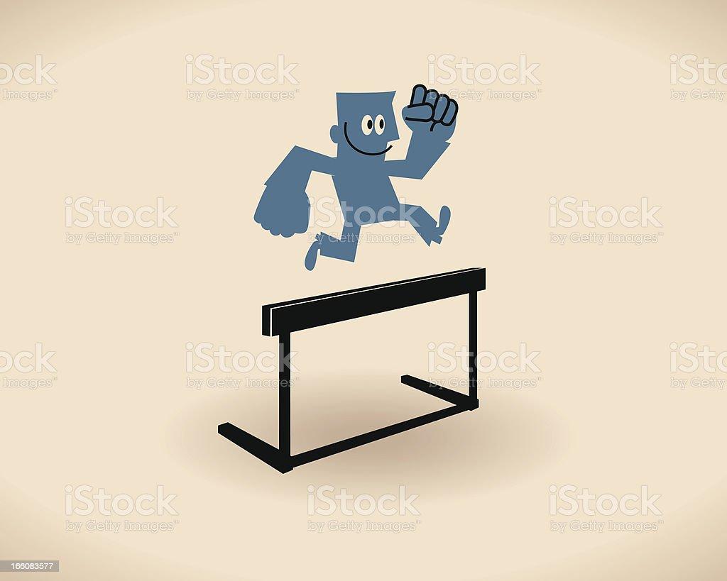 Jumping over hurdle vector art illustration
