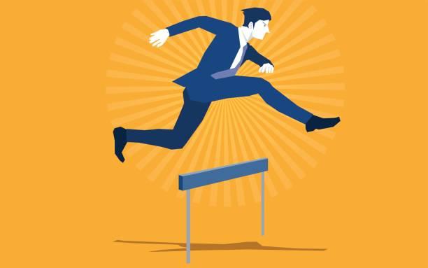 springen über die hürde - langstreckenlauf stock-grafiken, -clipart, -cartoons und -symbole