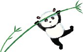 Two panda jumping on bamboo, blown away by the wind