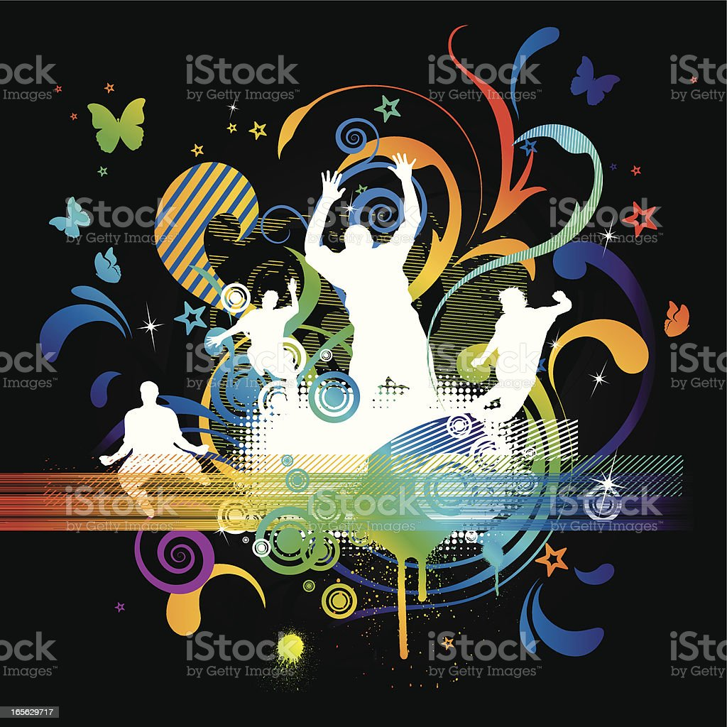 Jumping People and Whimsical Design Elements royalty-free stock vector art