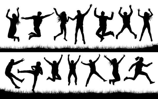 jumping people set crowd silhouette - jumping stock illustrations