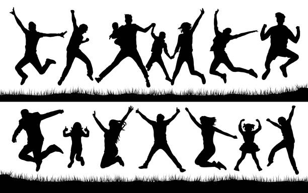 jumping people silhouette vector - jumping stock illustrations