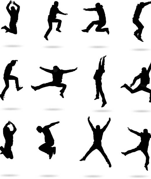 jumping people - jumping stock illustrations