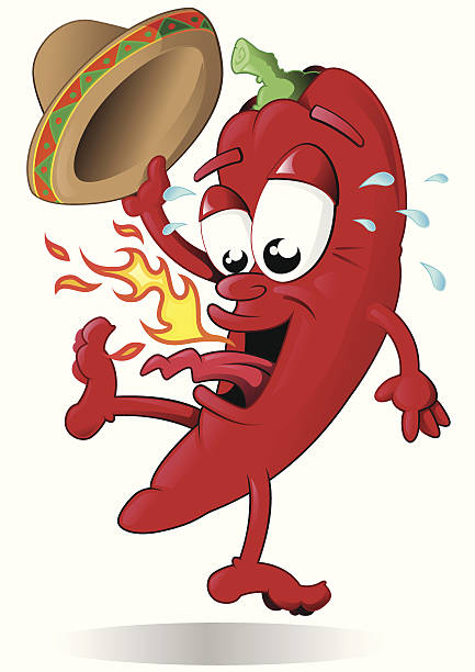 Jumping Red Pepper with his Sombrero This Red Hot Chili Pepper is jumping because he is just too hot! mexican restaurant stock illustrations