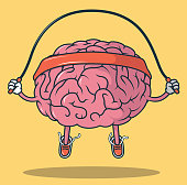Jumping Rope Brain vector illustration