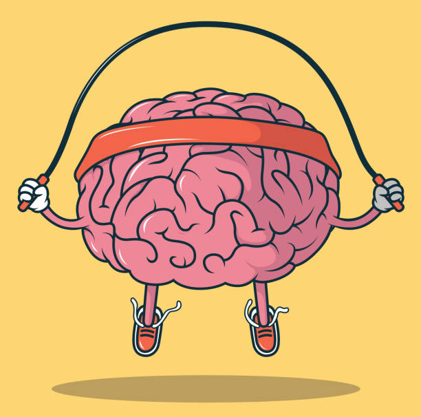 Jumping Rope Brain vector illustration Mental sport, exercise design concept brain stock illustrations
