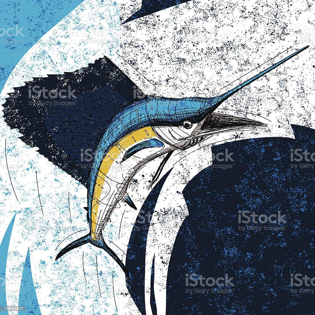 jumping sailfish vector art illustration