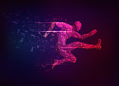 concept of sport science, polygon male athlete jumping with lighting effect