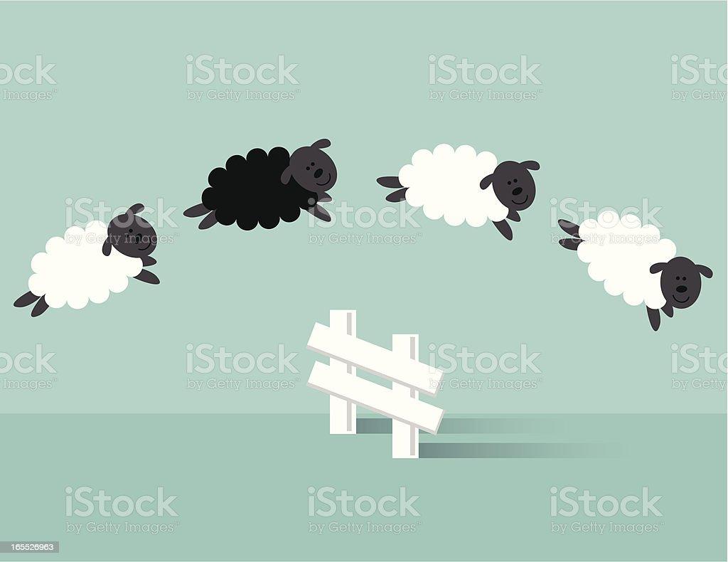 Jumping Sheep vector art illustration