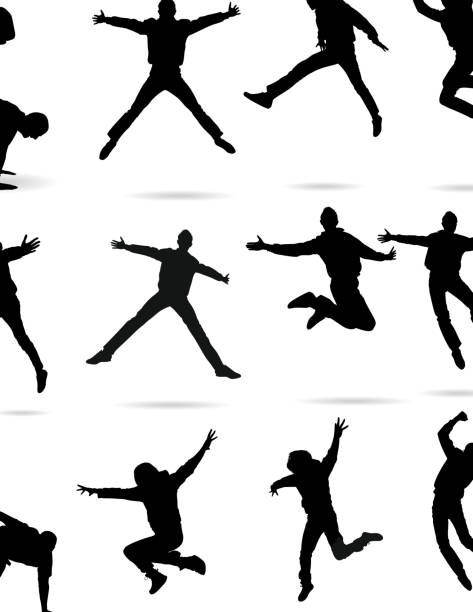 jumping silhouette - jumping stock illustrations