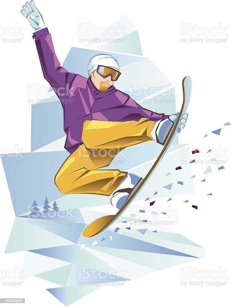 Jumping snowboarder royalty-free stock vector art