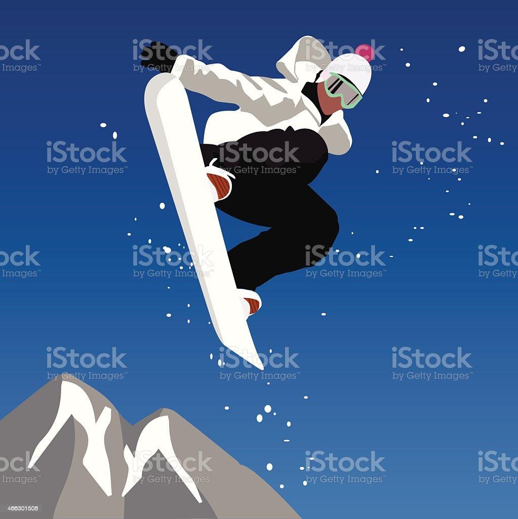 Jumping snowboarder. Vector illustration vector art illustration