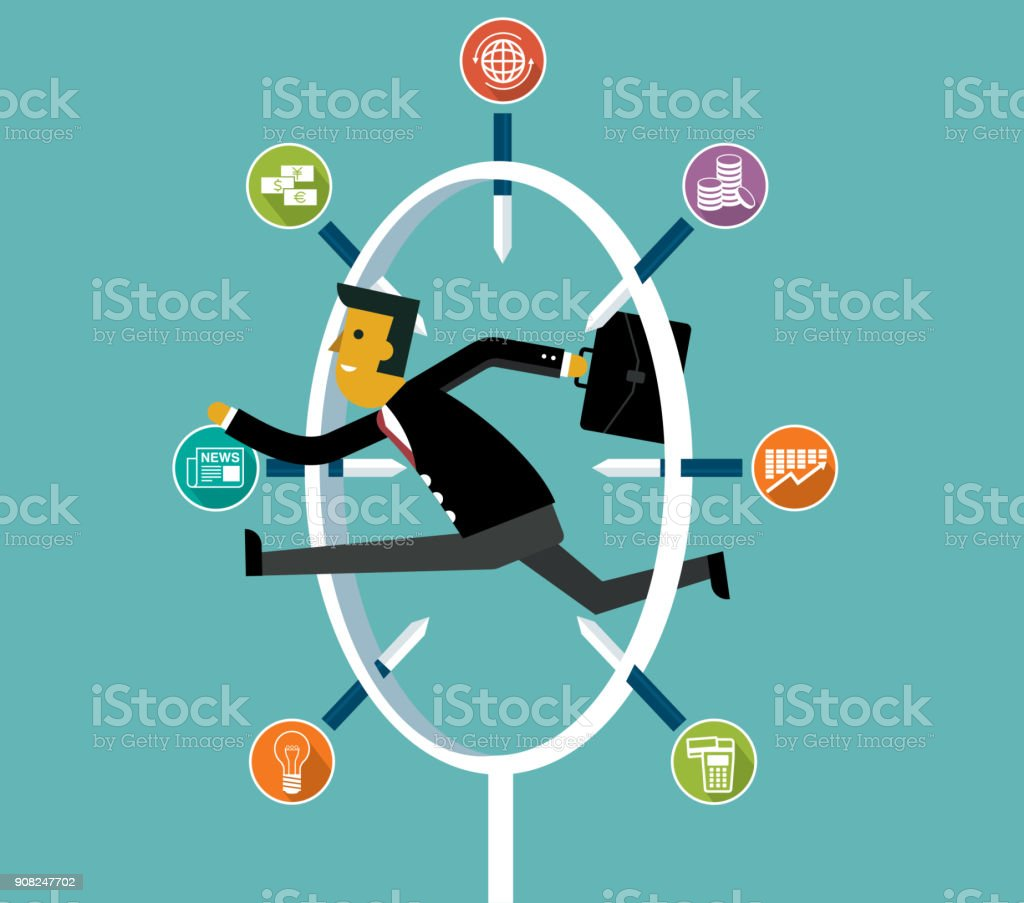 jumping through risk - businessman vector art illustration