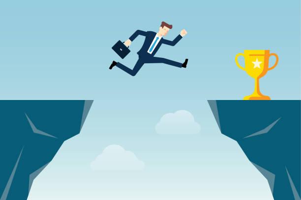 Jumping Through The Gap Jumping Through The Gap bluff stock illustrations