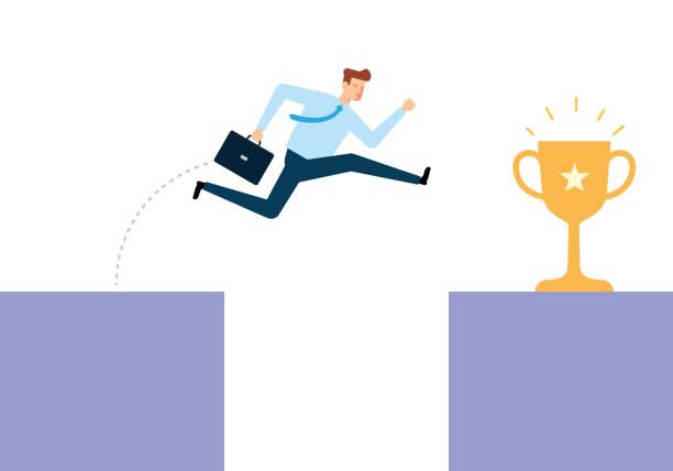 Jumping Through The Gap vector art illustration