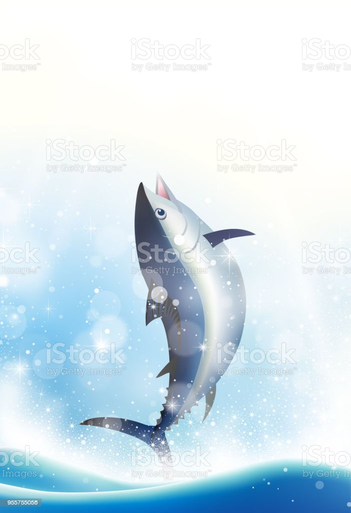 Jumping tuna fish vector art illustration