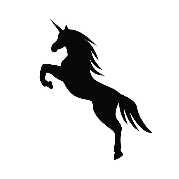 jumping unicorn llustration - vector - einhorn stock-grafiken, -clipart, -cartoons und -symbole