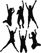 Vector Silhouette of people are jumping.