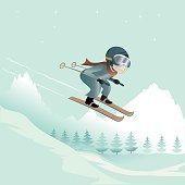 vector illustration of a ski jumping guy in a winter landscape, objects separated on different layers