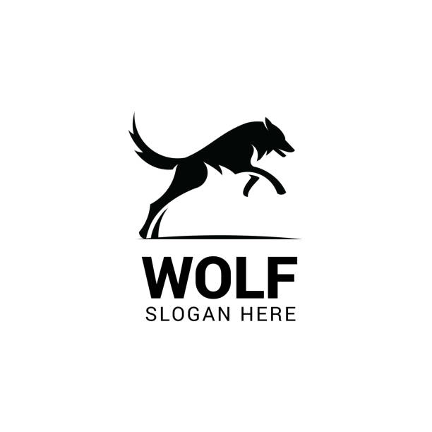 bildbanksillustrationer, clip art samt tecknat material och ikoner med hoppande varg vector mall. designelement för logotyp, etikett, emblem, tecken och symbol - varg