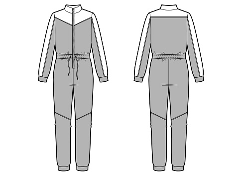 Jumpsuit fashion vector illustration. Sport wear. Flat sketches template