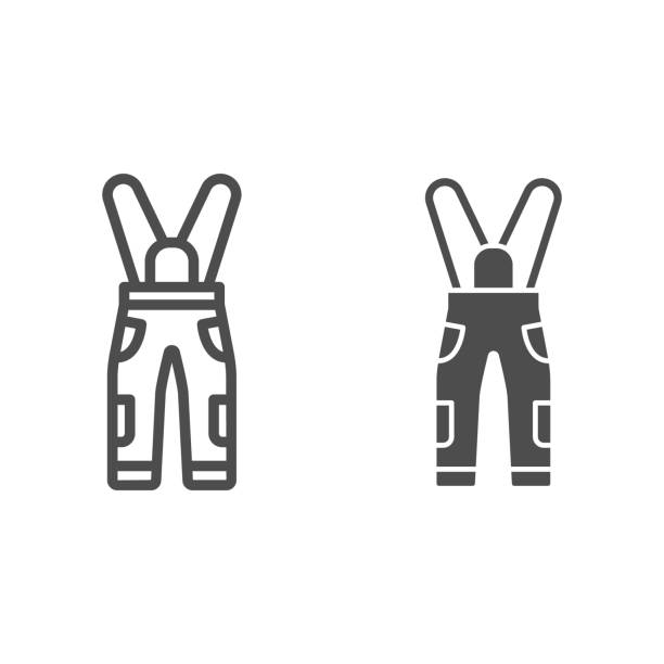 Jumpsuit line and solid icon, World snowboard day concept, Sport pants sign on white background, snowboarding trousers icon in outline style for mobile concept and web design. Vector graphics. Jumpsuit line and solid icon, World snowboard day concept, Sport pants sign on white background, snowboarding trousers icon in outline style for mobile concept and web design. Vector graphics hot pockets stock illustrations