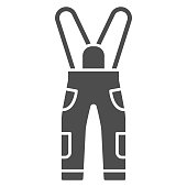 Jumpsuit solid icon, World snowboard day concept, Sport pants sign on white background, snowboarding trousers icon in glyph style for mobile concept and web design. Vector graphics