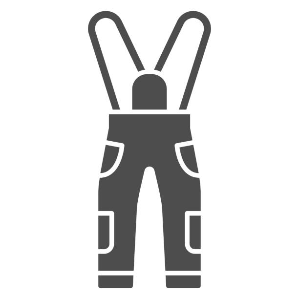 Jumpsuit solid icon, World snowboard day concept, Sport pants sign on white background, snowboarding trousers icon in glyph style for mobile concept and web design. Vector graphics. Jumpsuit solid icon, World snowboard day concept, Sport pants sign on white background, snowboarding trousers icon in glyph style for mobile concept and web design. Vector graphics hot pockets stock illustrations
